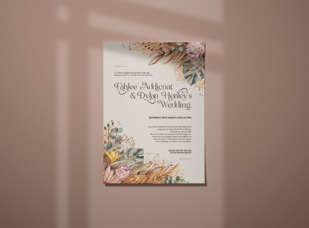 T and D Wedding Invitations Front