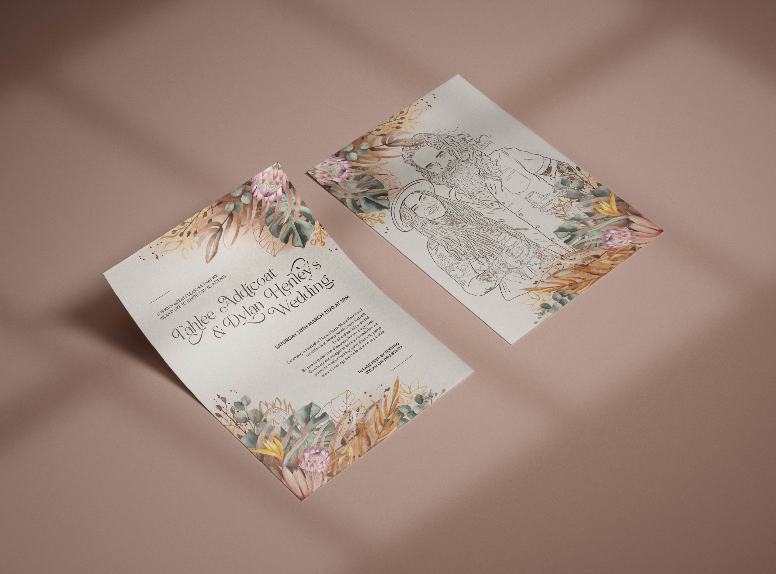 T and D Wedding Invitations on table